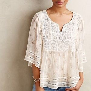 Anthro Meadow Rue Silk Lace Boho Blouse